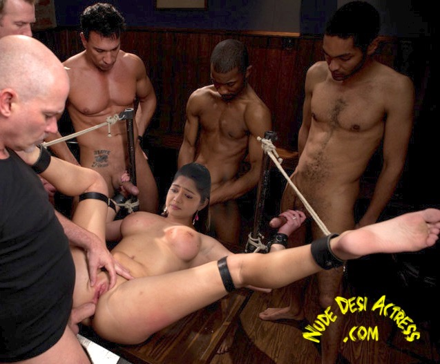 Naked tied Madhumila bondage anal sex gangbang