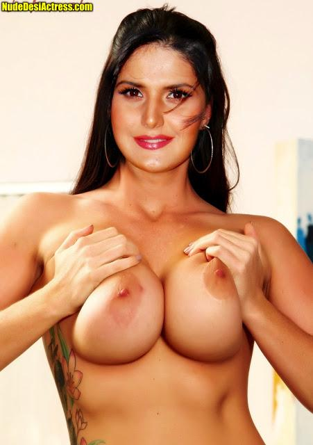 Full nude Zareen Khan pressing her boobs naked without bra
