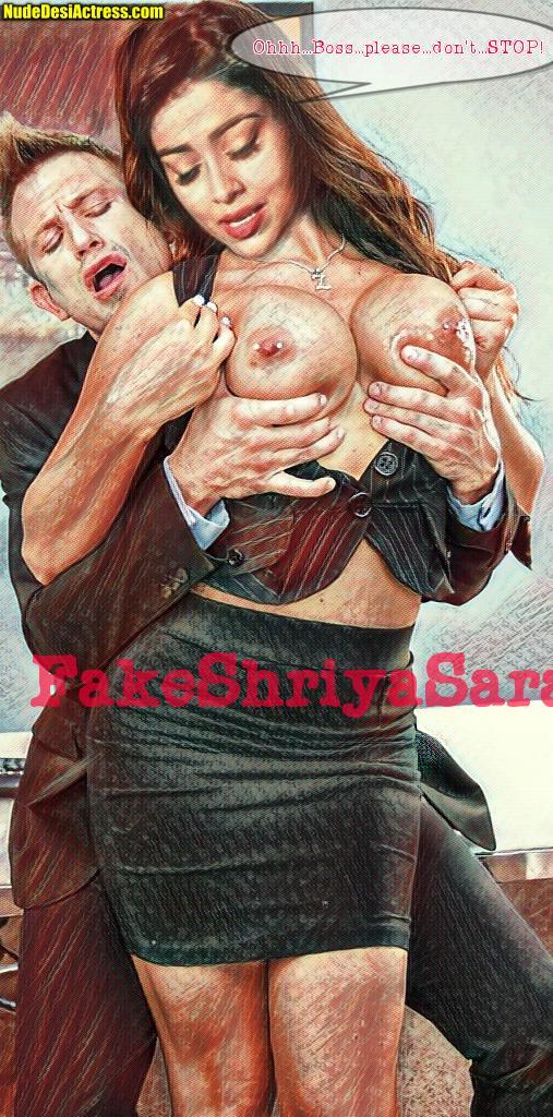 Naked pierced nipple Shriya Saran boobs pressed without bra